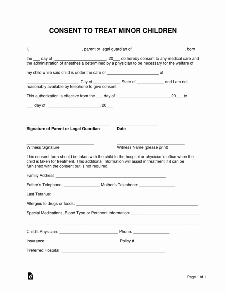 Consent to Treat form Template Beautiful Free Minor Child Medical Consent form Word