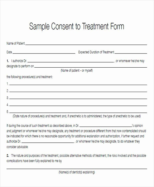 Consent to Treat form Template Best Of 43 Sample Medical forms In Pdf