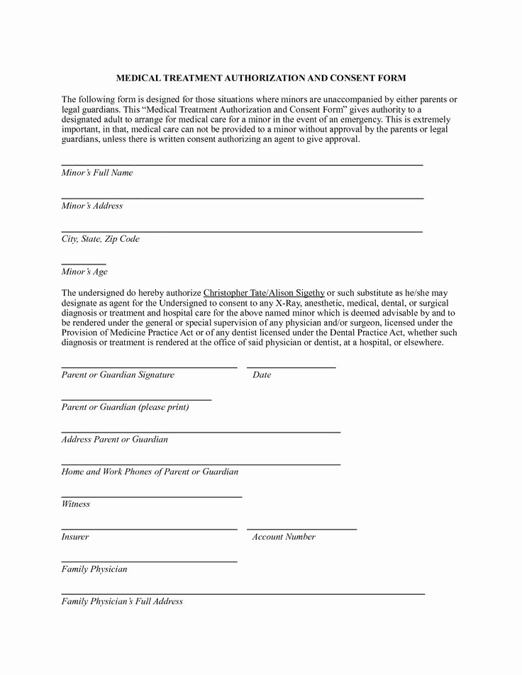 Consent to Treat form Template Best Of Medical Authorization form