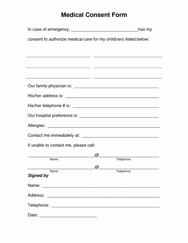 Consent to Treat form Template Best Of Medical Treatment Consent form Sample forms