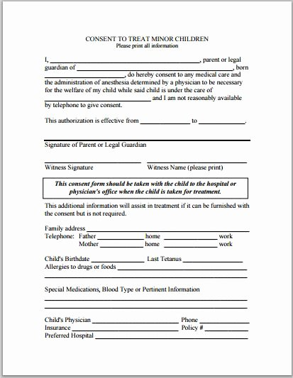 Consent to Treat form Template Elegant Sample Child Consent forms Templates