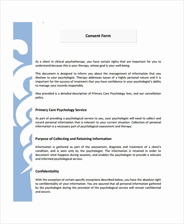 Consent to Treat form Template Fresh 8 Psychology Consent forms