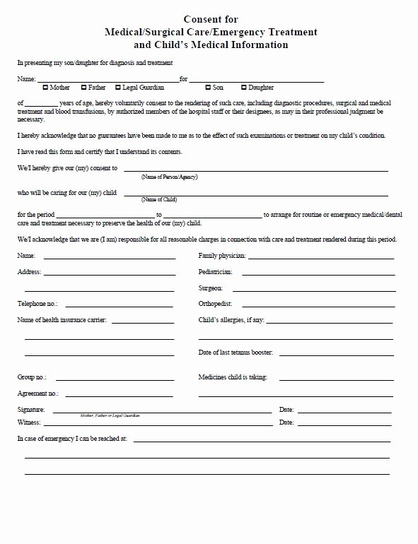 Consent to Treat form Template Fresh Download Fillable Pdf forms for Free