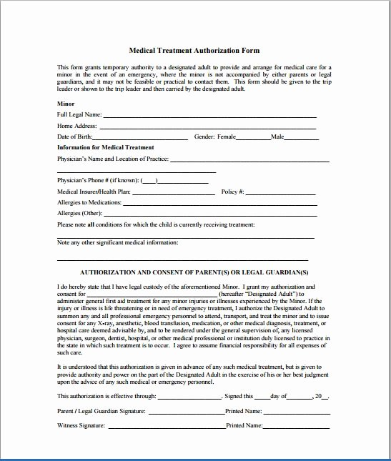 Consent to Treat form Template Fresh Sample Child Consent forms Templates