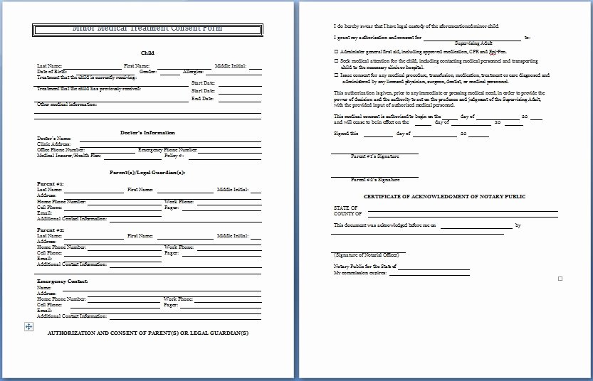Consent to Treat form Template Inspirational Sample Medical Consent form