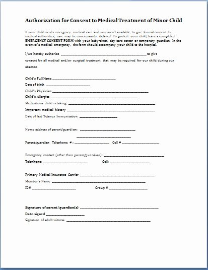 Consent to Treat form Template Lovely Sample Child Consent forms Templates