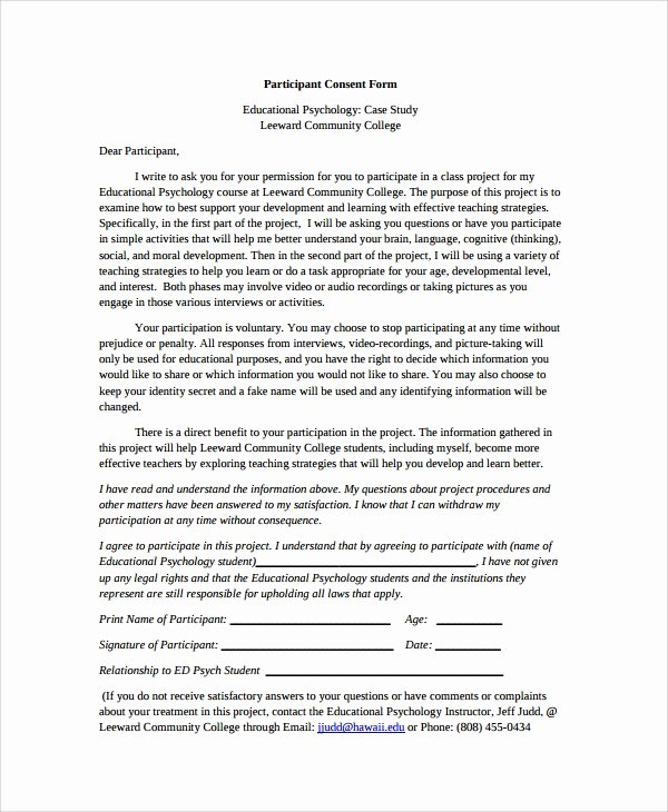 Consent to Treat form Template Luxury 8 Psychology Consent forms