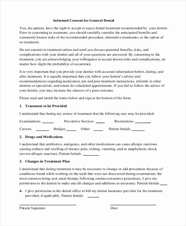 Consent to Treat form Template Unique 7 Dental Consent form Samples Free Sample Example
