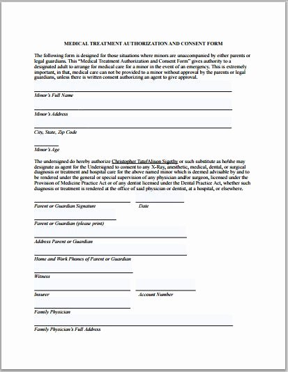 Consent to Treat form Template Unique Sample Medical Authorization form Templates