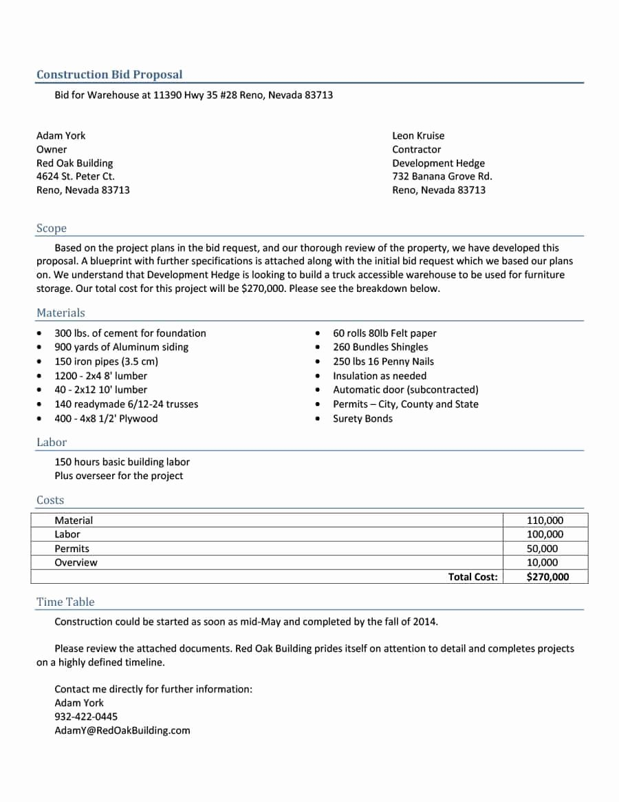 Construction Bid Proposal Template Beautiful 31 Construction Proposal Template & Construction Bid forms