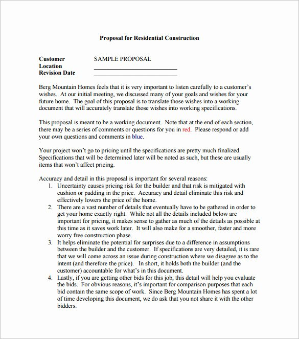 Construction Bid Proposal Template Beautiful Construction Proposal Templates 19 Free Word Excel