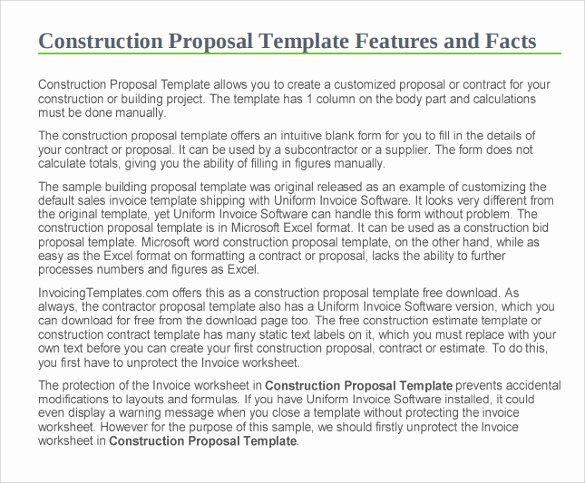 Construction Bid Proposal Template Elegant 11 Construction Proposal Templates