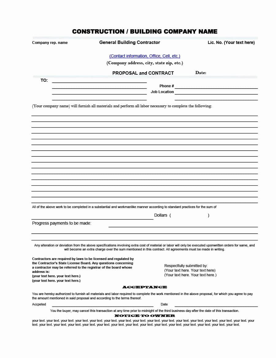 Construction Bid Proposal Template Elegant 31 Construction Proposal Template & Construction Bid forms