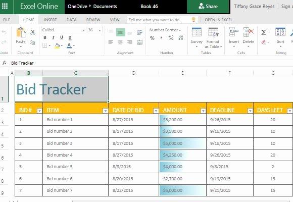 Construction Bid Proposal Template Excel Elegant Bid Tracker Excel Template