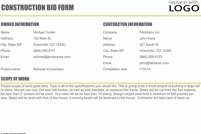 Construction Bid Proposal Template Excel Fresh Business Proposal Template