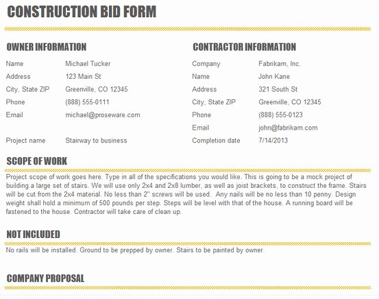 Construction Bid Proposal Template Excel Inspirational Construction Bid Proposal Template Excel Excel About