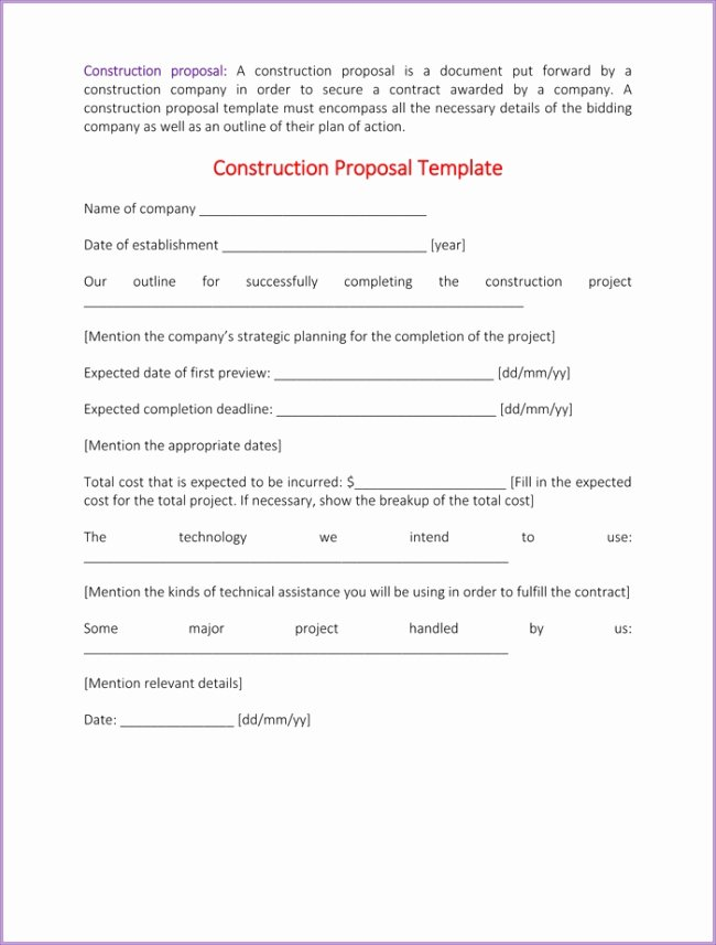 Construction Bid Proposal Template Fresh Construction Proposal Template Beepmunk