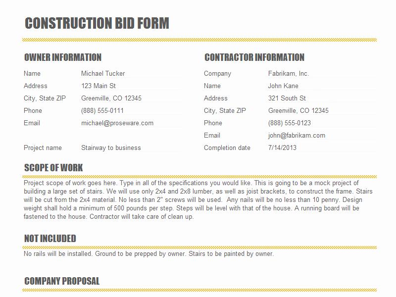 Construction Bid Proposal Template Fresh Construction Proposal Templates