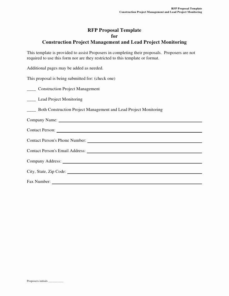 Construction Bid Proposal Template Fresh Rfp Proposal Template for Construction Project Management