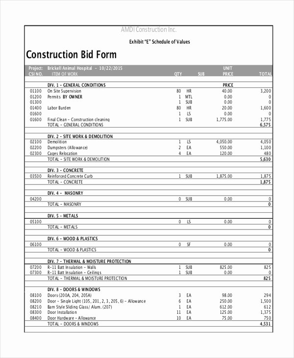 Construction Bid Sheet Template Awesome Construction Bid Template