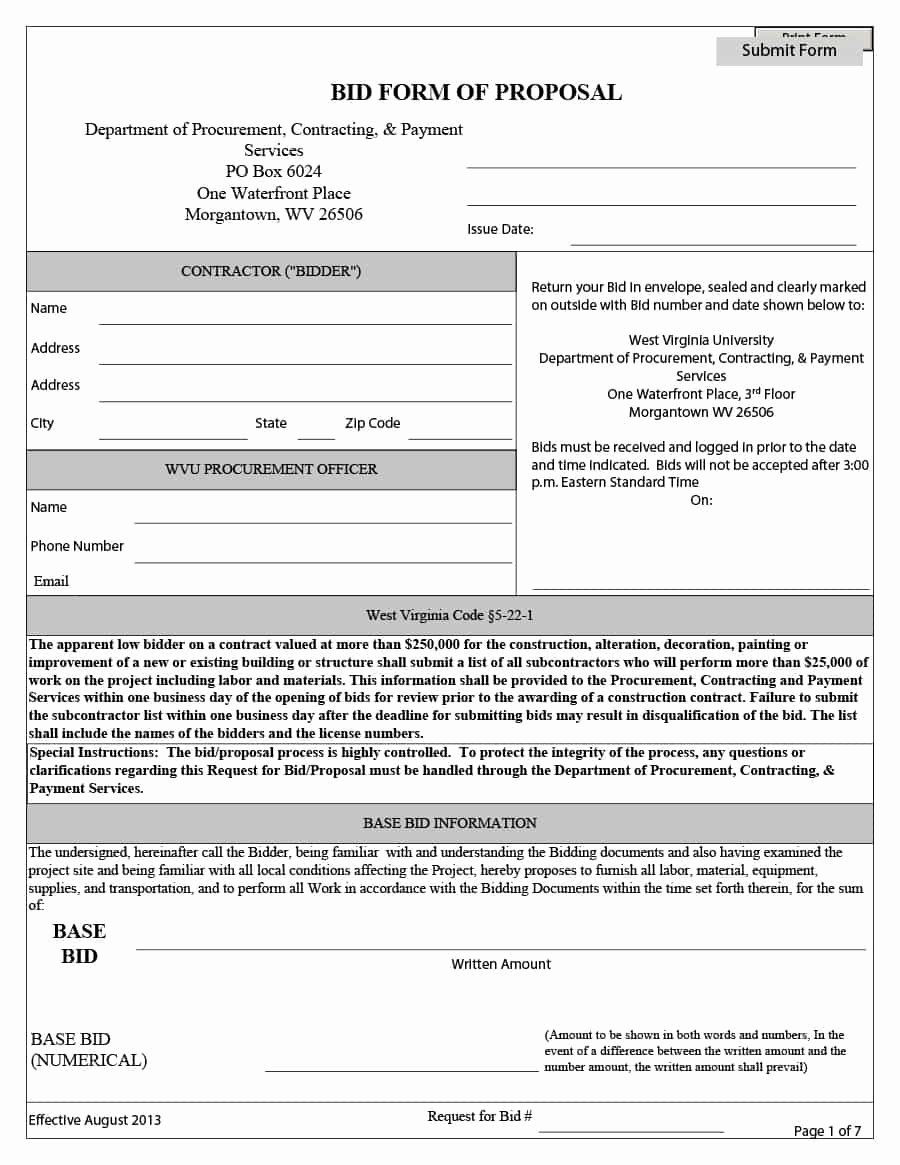 Construction Bid Sheet Template Elegant 31 Construction Proposal Template & Construction Bid forms