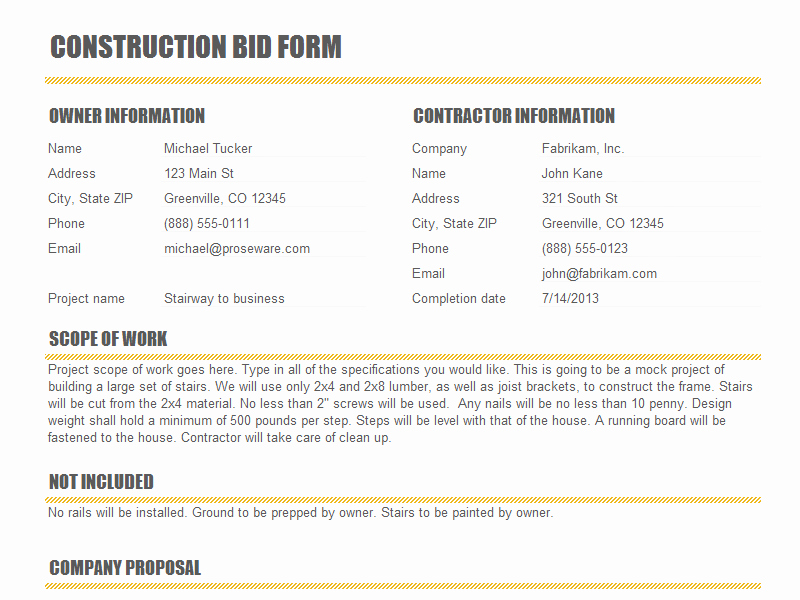 Construction Bid Sheet Template Elegant Construction Bid form Templates Josh