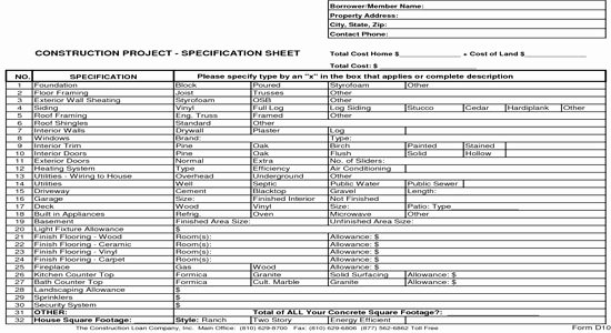 Construction Bid Sheet Template Fresh New Home Construction Bid Sheet