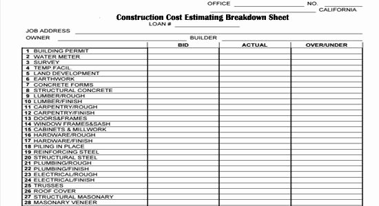 Construction Bid Sheet Template Lovely Construction Cost Estimating Breakdown Sheet