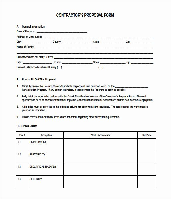 Construction Bid Sheet Template Unique Sample Contractor Proposal 7 Documents In Pdf Word