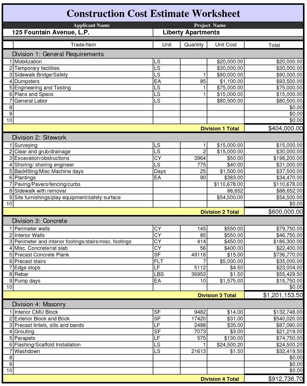 Construction Bid Template Free Excel Awesome Construction Estimate Template Excel Example Of Spreadshee