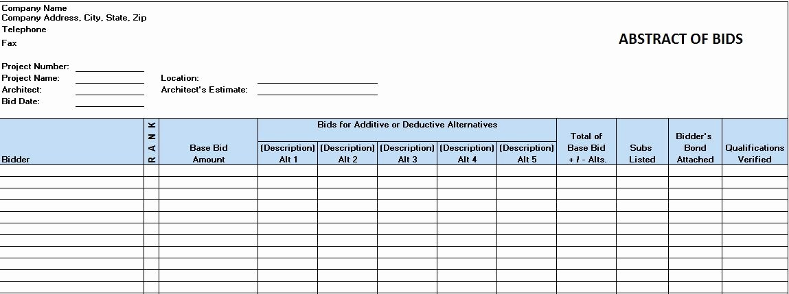 Construction Bid Template Free Excel Inspirational Free Construction Project Management Templates In Excel