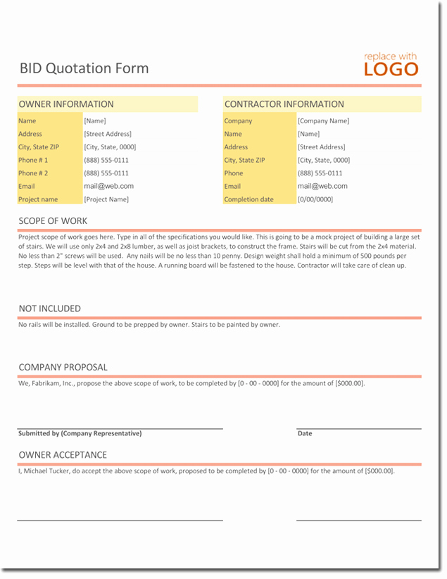 Construction Bid Template Free Excel Lovely Quotation Templates – Download Free Quotes for Word Excel