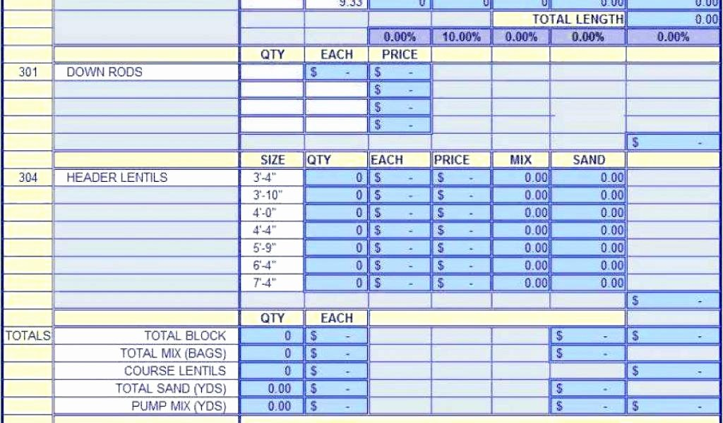 Construction Bid Template Free Excel Luxury General Contractor Bid Sheet Sample Construction forms 8