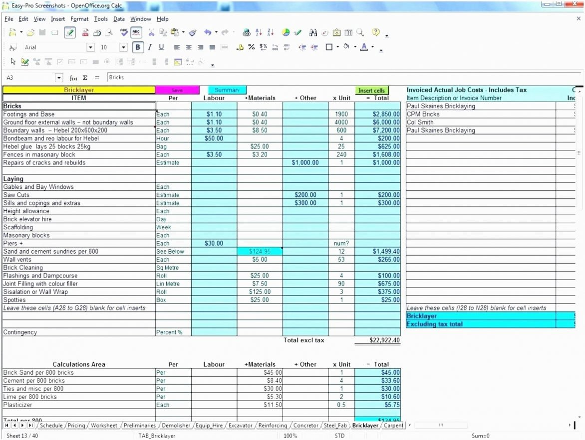 Construction Bid Template Free Excel New Construction Bid form Excel Example Of Spreadshee