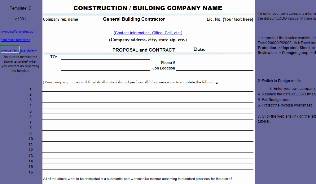 Construction Bid Template Free Excel New Construction Proposal Template