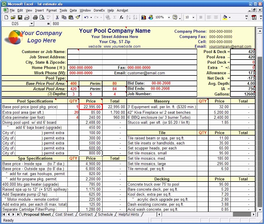 Construction Bid Template Free Excel Unique Construction Estimating Construction Estimating Excel