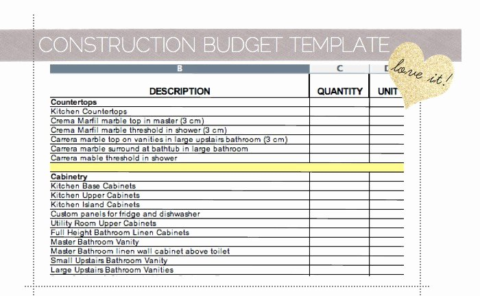Construction Budget Template Excel Awesome Home Improvement Bud Excel Template 1000 Images About