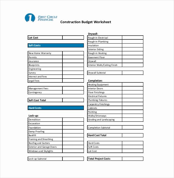 Construction Budget Template Excel Lovely 12 Construction Bud Templates Doc Pdf Excel