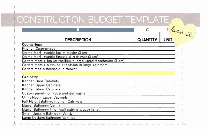Construction Budget Template Excel Lovely 7 Residential Construction Bud Template Wiyii
