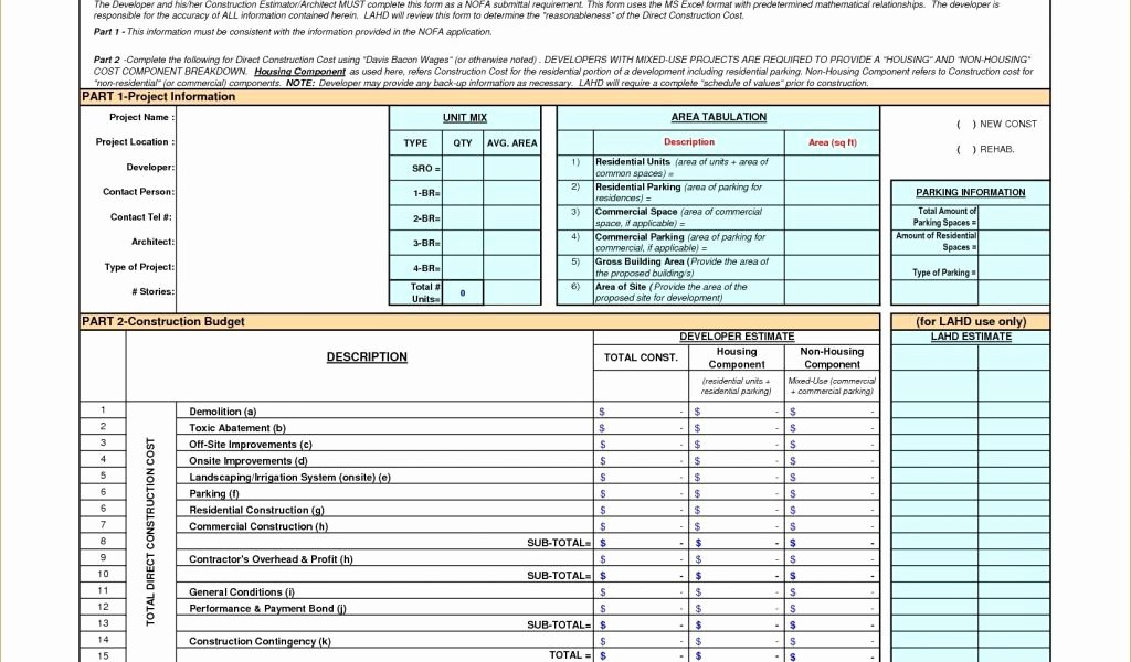 Construction Budget Template Excel New Construction Bud Template Excel Good Design Home