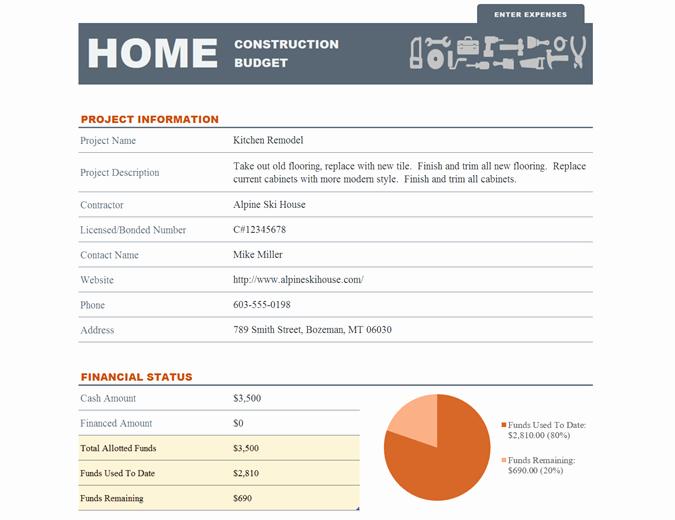 Construction Budget Template Excel Unique Home Construction Bud