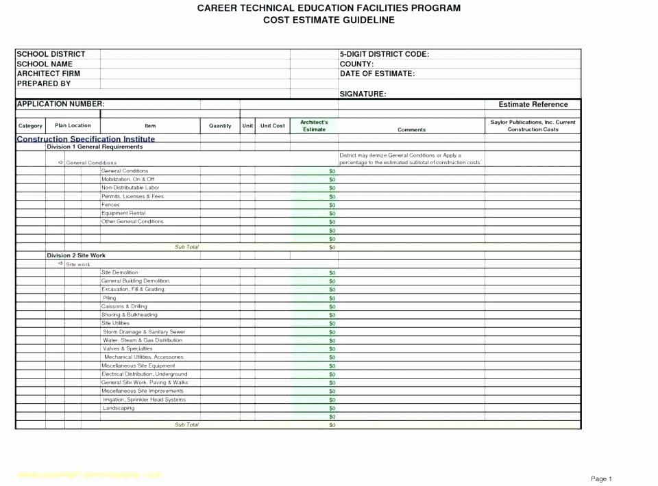 Construction Budget Template Excel Unique House Construction Bud Template Excel Estimate Download
