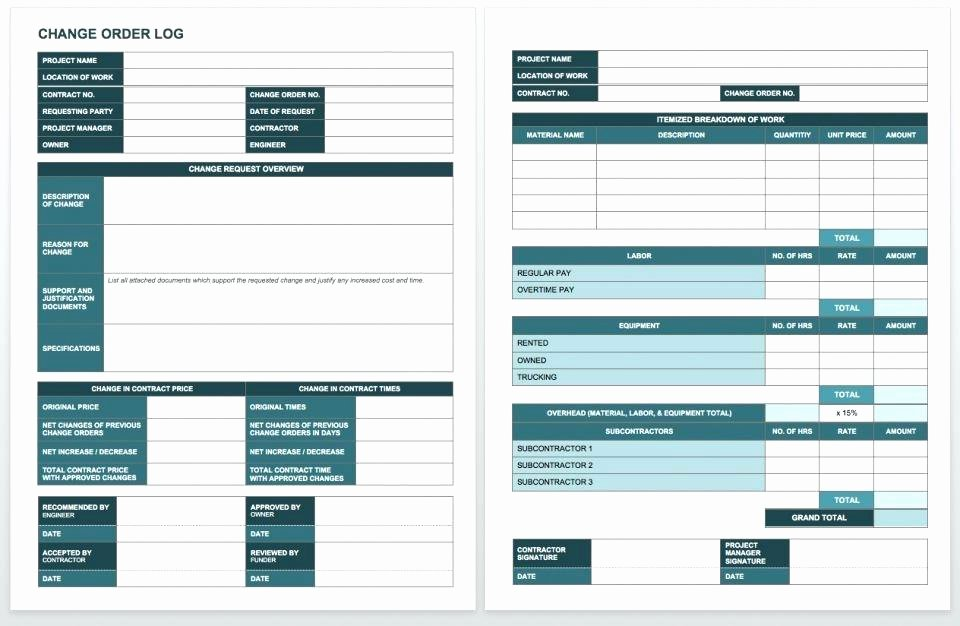 Construction Change order Template Excel Awesome Construction Change order Proposal Template Examples Free