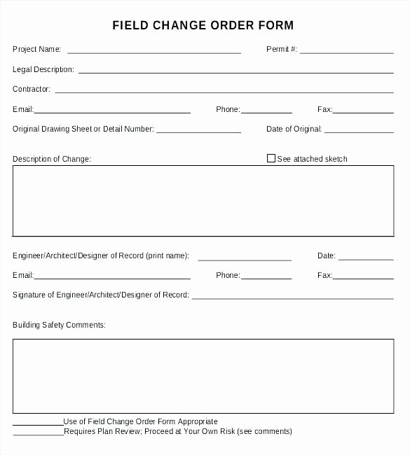 Construction Change order Template Excel Awesome Free Change order form Template Excel Sample Field