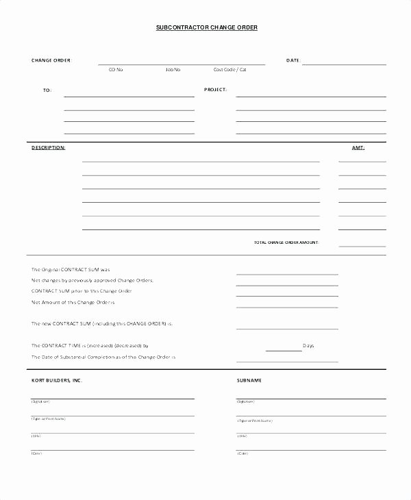 Construction Change order Template Excel Inspirational Change order Template Excel Free Change order Template