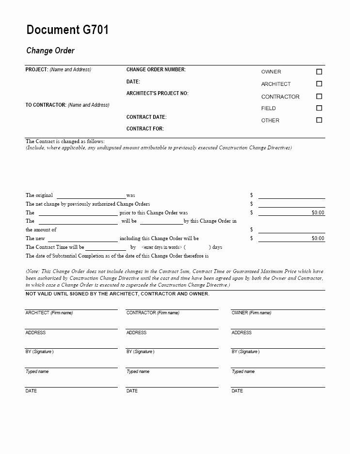 Construction Change order Template Excel Lovely Aia G701 Change order form Template for Excel Change