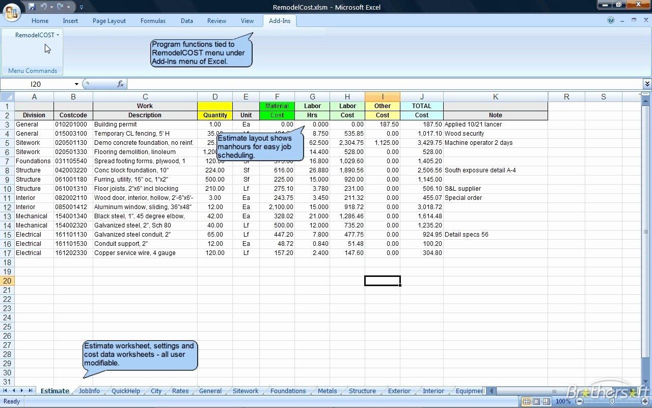 excel cost estimate template