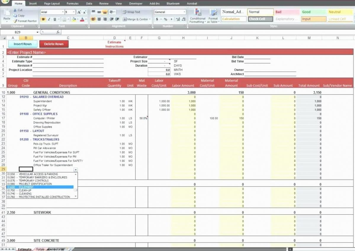 Construction Cost Estimate Template Excel Inspirational Estimate Spreadsheet Template Excel Estimatingt Templates
