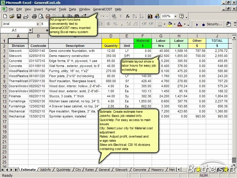 Construction Cost Estimate Template Excel Lovely Download Free Generalcost Estimator for Excel Generalcost
