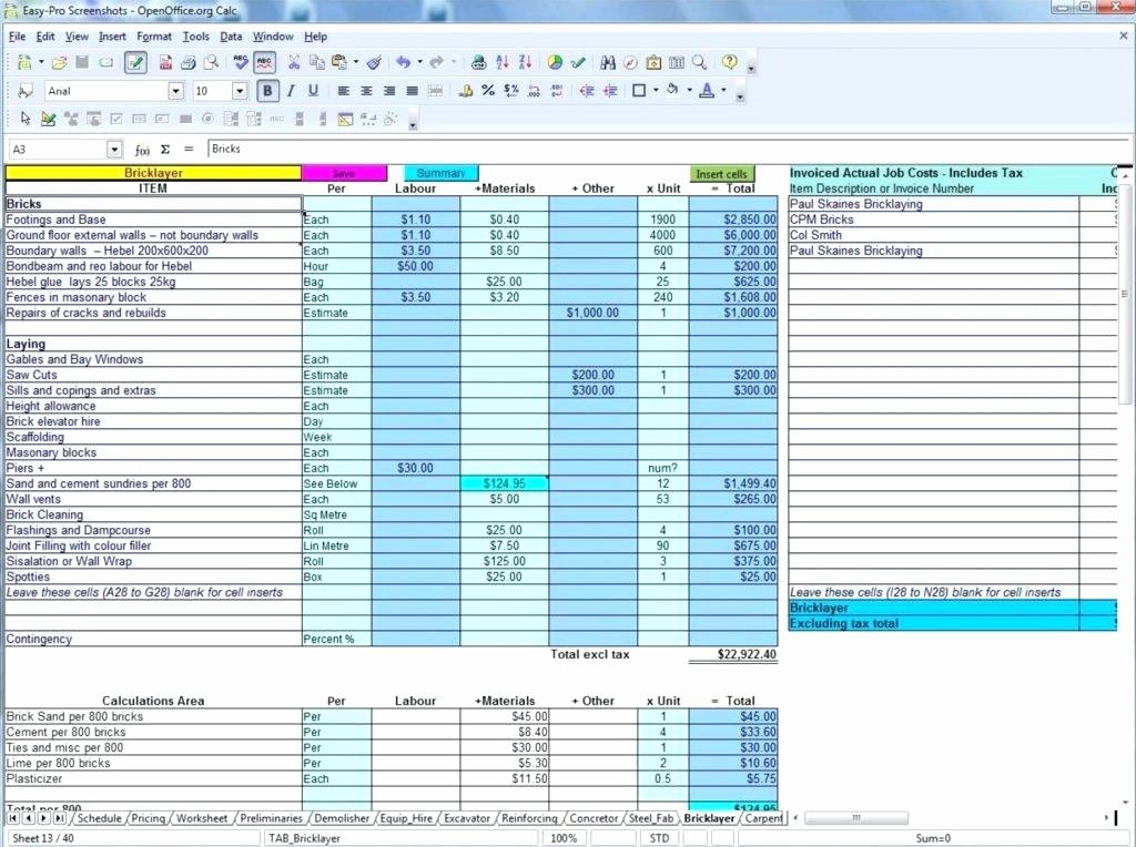 Construction Cost Estimate Template Excel Lovely Excel Mating Spreadsheet Home Construction Bud Cost